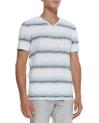 Striped Knit V-Neck Tee, White/Navy