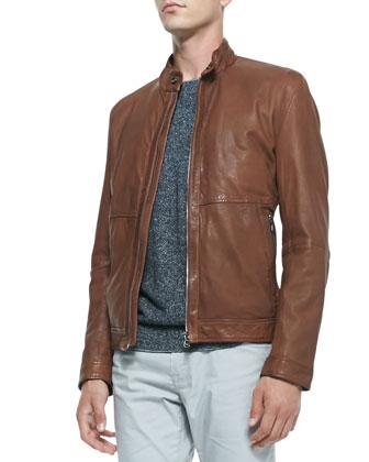 Lightweight Napa Leather Jacket, Cotton/Linen Sweater & 5-Pocket ...