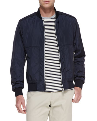 Striped Placket Bomber Jacket, Navy