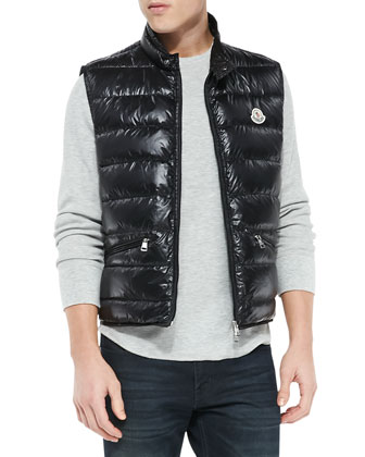 Gui Quilted Puffer Vest, Black