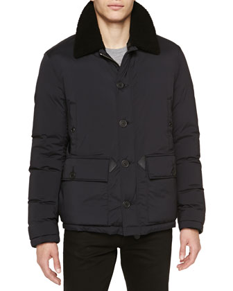 Puffer Jacket with Shearling Fur Collar