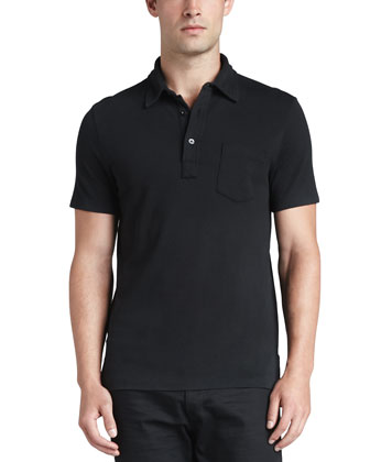 Patch-Pocket Polo, Black