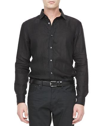 Long-Sleeve Linen Sport Shirt, Black