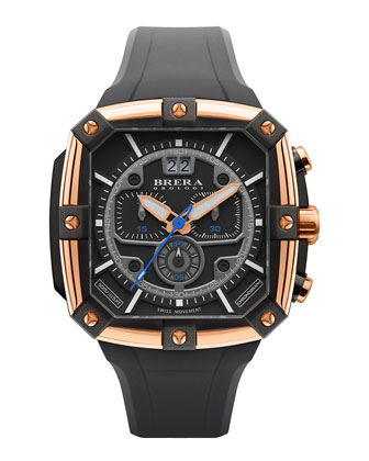46mm Supersportivo Square Watch, Black/Rose Gold