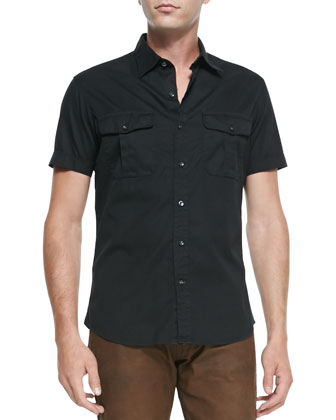 Double-Pocket Woven Short-Sleeve Shirt, Black
