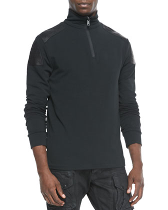 Quarter-Zip Leather-Trim Jersey Pullover, Black
