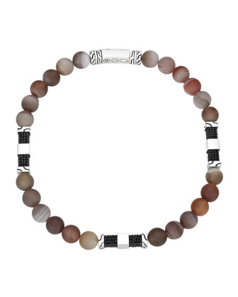 Men's Batu Classic Chain Silver Bead Bracelet in Brown Agate