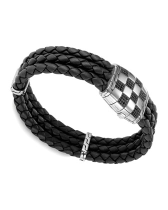 Men's Classic Chain Silver Station Bracelet, Black