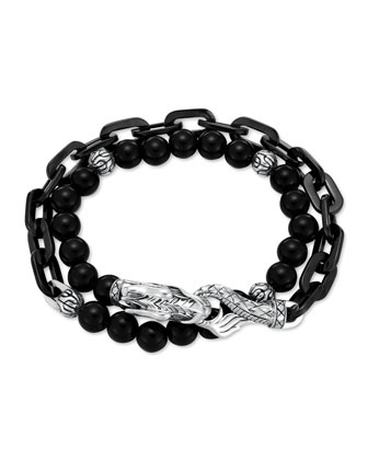 Naga Black Onyx Stainless Steel Double-Wrap Link Bracelet