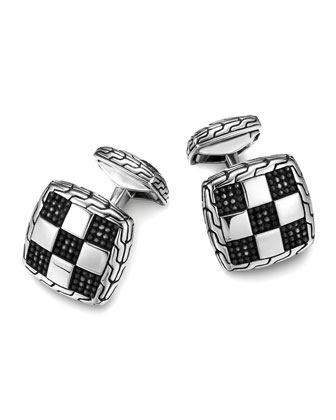 Men's Classic Chain Silver Square Cuff Links