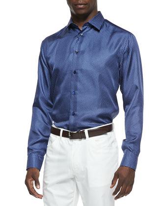 Mini-Neat Silk Button-Down Shirt & 5-Pocket Stretch-Twill Pants
