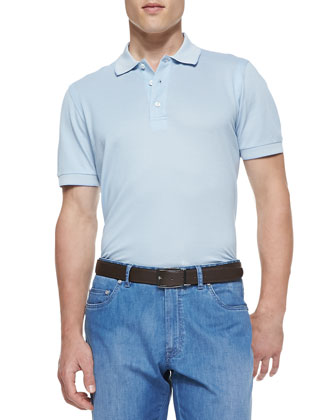 Cotton/Silk Polo Shirt, Light Blue