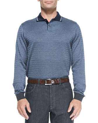 Long-Sleeve Woven-Neat Polo, Blue