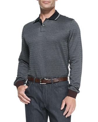 Long-Sleeve Woven-Neat Polo, Charcoal