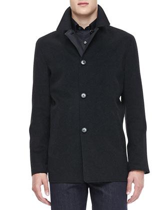 Reversible Car Coat, Charcoal/Black