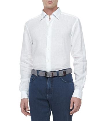 Linen Sport Shirt, V-Neck Pullover Sweater & Five-Pocket Denim Jeans