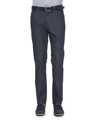 Raw Denim Five-Pocket Jeans, Blue
