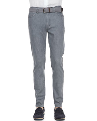 Five-Pocket Slim-Fit Jeans, Gray