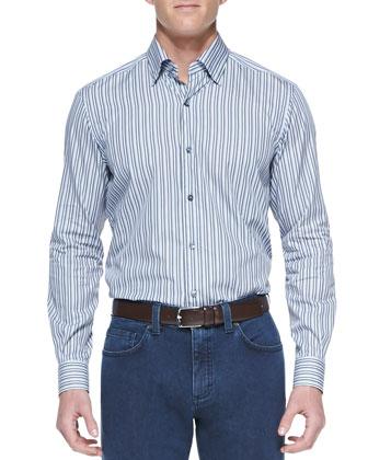 Striped Long-Sleeve Shirt, Dark Gray