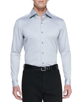 Woven Button-Down Shirt, Light Gray