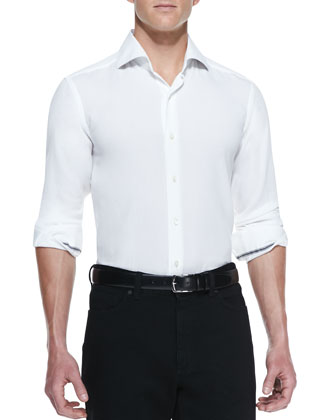 Solid-Pique Long-Sleeve Shirt, White