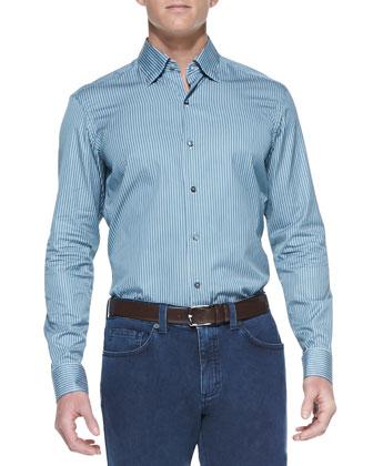 Striped Long-Sleeve Shirt, Emerald/White