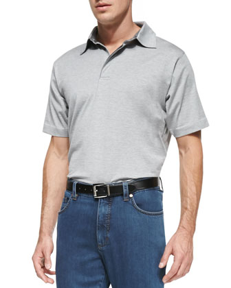1x1 Short Sleeve Polo, Light Gray