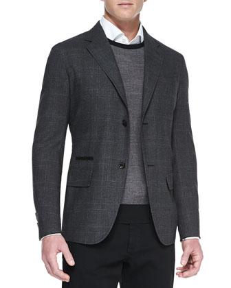 Check Silk Two-Button Blazer, Crewneck Athletic Sweater & Solid-Pique ...