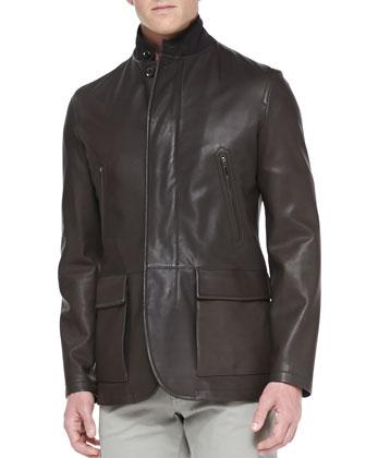 Lambskin Zip-Front Blazer, Brown