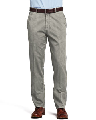 Straight-Leg Cotton Pants, Granite
