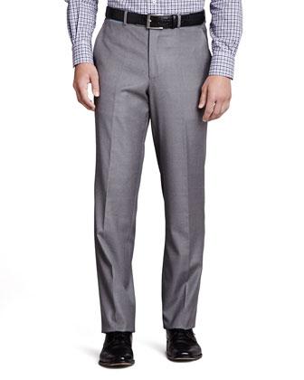 Italian Wool Pants, Pearl Gray
