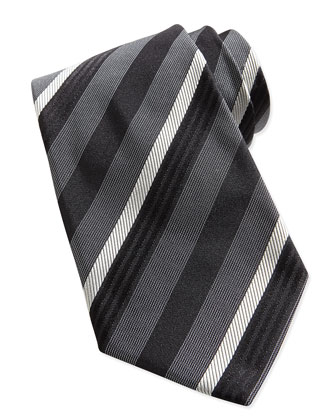 Textured Multi-Stripe Silk Tie, Black