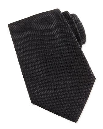 Waffle-Knit Silk Tie, Black