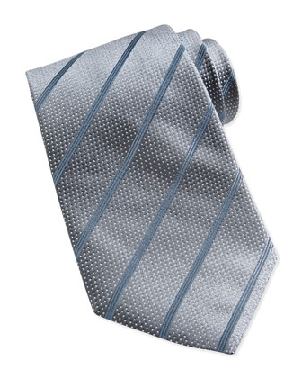 Dotted Stripe Silk Tie, Light Gray