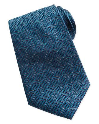Textured Chevron Silk Tie, Teal