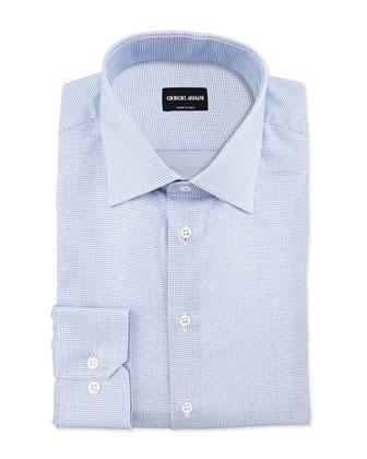 Textured Neat Dress Shirt, Blue/White
