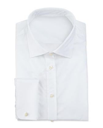 Textured French-Cuff Dress Shirt, White
