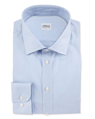 Tic Weave Dress Shirt, Blue