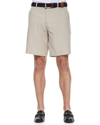 E4 Salem High-Waist Drape Shorts, Beige