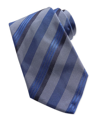 Textured Multi-Stripe Silk Tie, Blue