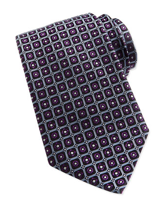 Dot-Square Silk Tie, Purple