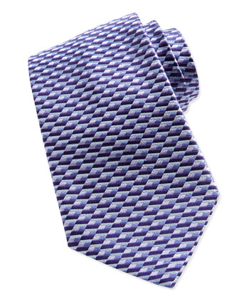 Diagonal Basket-Weave Tie, Purple