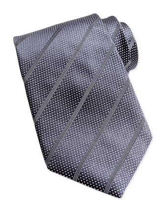 Dotted Stripe Silk Tie, Navy/Gray