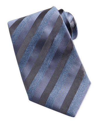 Multi-Stripe Silk Tie, Light Blue