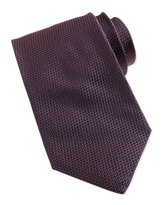 Textured Micro-Dot Tie, Navy/Orange
