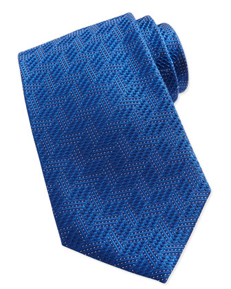 Textured Chevron Silk Tie, Bright Blue