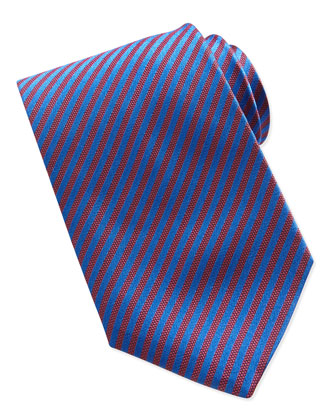 Small-Stripe Silk Tie, Red