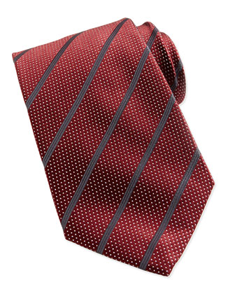 Dotted Stripe Silk Tie, Red