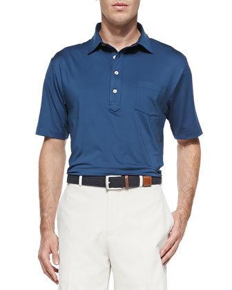 Solid Stretch-Jersey Polo with Snedeker Hard Collar, Periwinkle