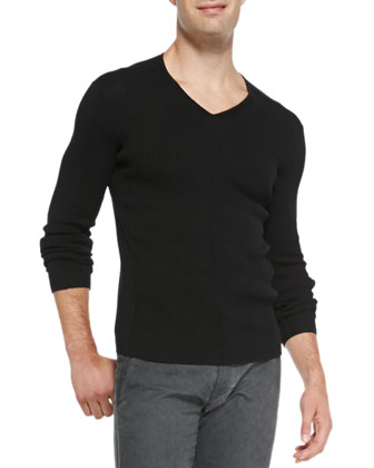 Ribbed V-Neck Sweater, Black